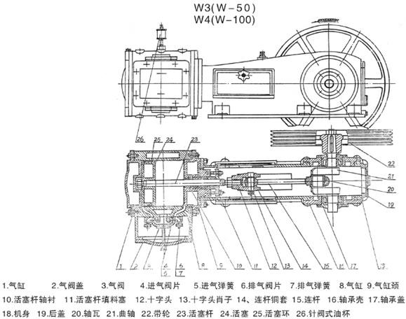 产品库 泵/阀/管件/水箱 泵 真空泵 w型 往复式真空泵  结构图: 型 号