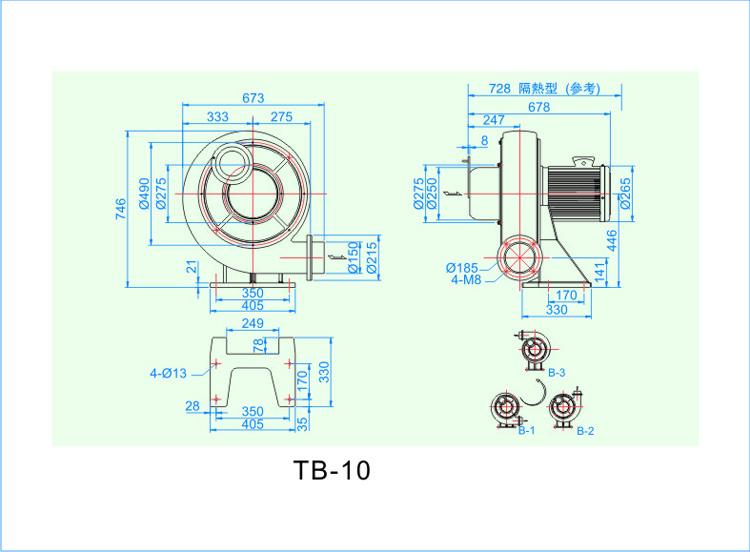 西门子7.5KW透浦式中压鼓风机安装尺寸